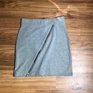Gray zip mini skirt